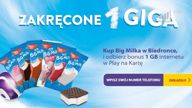 Darmowy Internet w Play przy zakupie loda Big Milk
